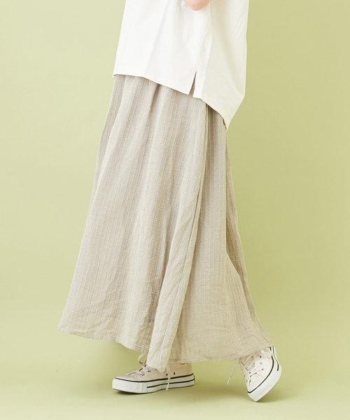 シフォン ストライプ ギャザースカート