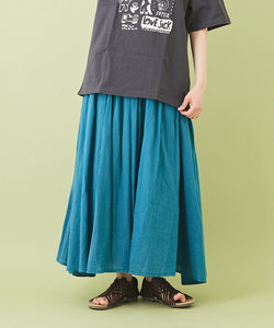 綿ボイル アシッドウォッシュ ギャザースカート