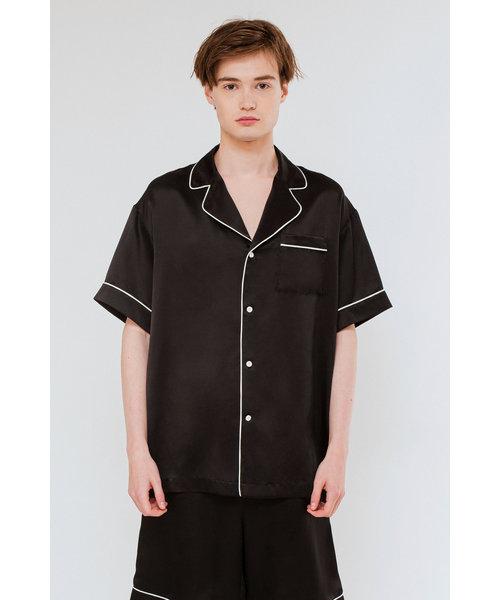 メンズシルクパジャマ/半袖トップス