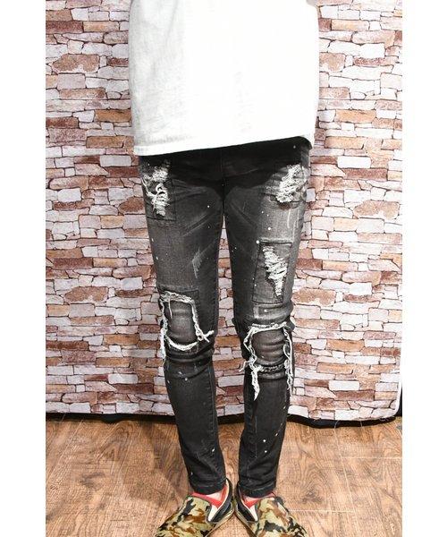 AvidJeans ブラックデニムハードクラッシュリペアスキニー
