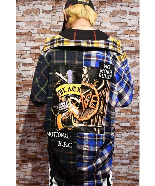 BLACK FLAME CLASSIC 切替ロックチェックシャツ