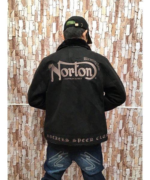 NORTON 袖ロゴ フェイクムートンジャケット