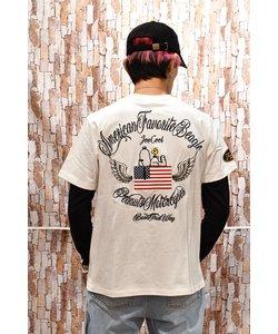 【FLAG STAFF(フラッグスタッフ)】×【SNOOPY】コラボ AMERICAN FLAG 刺繍 半袖Tシャツ 492124