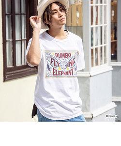 163(イチロクサン) DUMBO フライングデザインヴィンテージライクTシャツ(ホワイト/ネイビー)