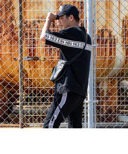 163(イチロクサン) レースアップスウェットビッグTシャツ(ホワイト×ブラック/ブラック×ブラック/ブラック×ホワイト)