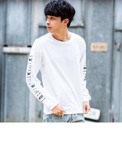 NUMBER (N)INE DENIM(ナンバーナインデニム) テープロゴロングスリーブTシャツ(ホワイト/グレー/ブラック)