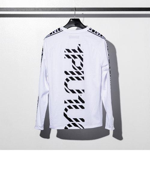 1PIU1UGUALE3 RELAX(ウノピゥウノウグァーレトレ) サイドテープTシャツ(ホワイト/ネイビー/ブラック)