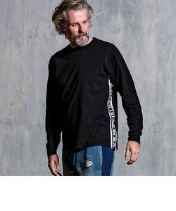 1PIU1UGUALE3 RELAX(ウノピゥウノウグァーレトレ)切り替えロゴテープロングTシャツ(ホワイト/ブラック)