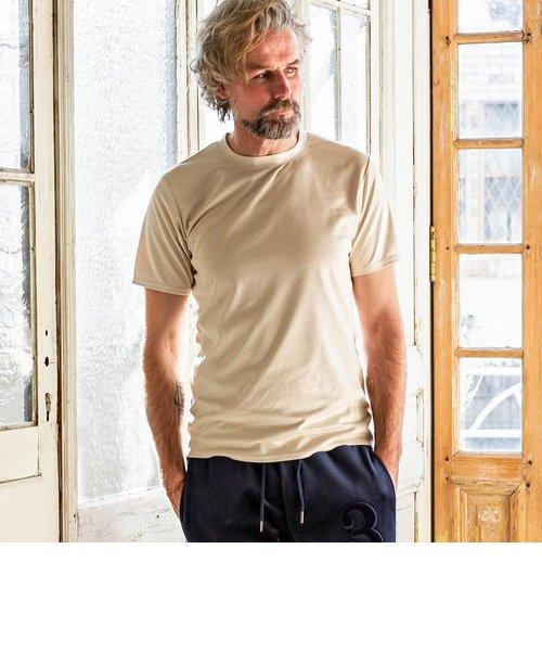 1PIU1UGUALE3 RELAX(ウノピゥウノウグァーレトレ) エコスウェードTシャツ (カーキ/ベージュ/ホワイト/ブラック)