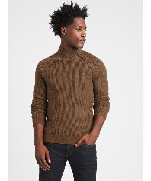 イタリアン ウールブレンド モックネック セーター
