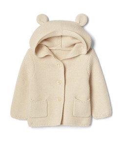 くま耳フード ガーター編みセーター