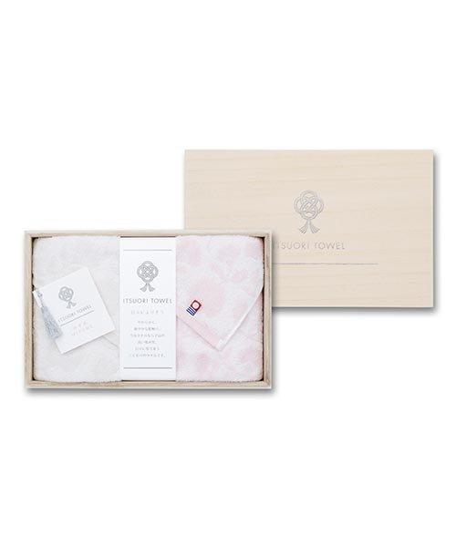 【今治タオル】逸織タオル 《みずめ》 フェイスタオル 2枚セット(ピンク・グレー)