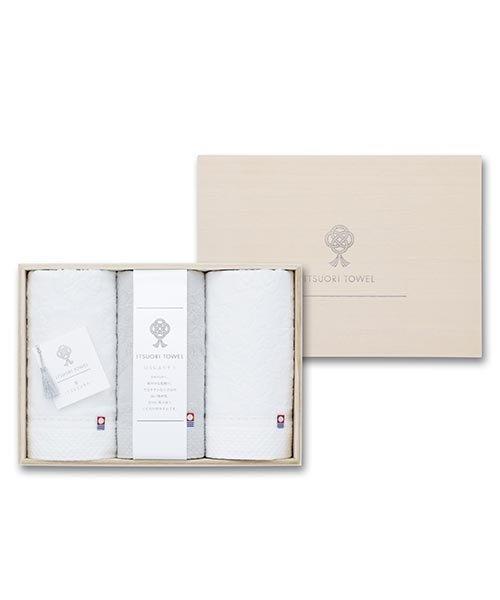 【今治タオル】逸織タオル 《葛》 フェイスタオル 3枚セット(ホワイト2枚 ・グレー1枚)