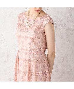 オーガンジーフラワー刺繍ワンピース