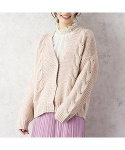 ローゲージケーブル編みカーディガン