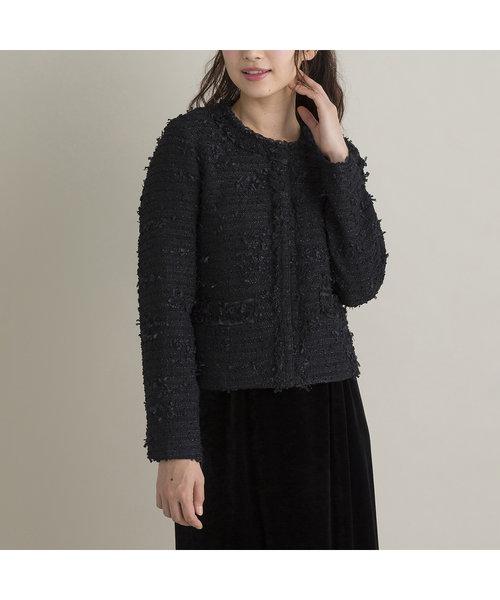 【 M-StyleLuxeコラボ 】 ファンシーツイードジャケット(Black)