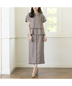 【セットアップ可】リネンライクフリンジタイトスカート