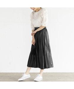 レザーサテンプリーツスカート