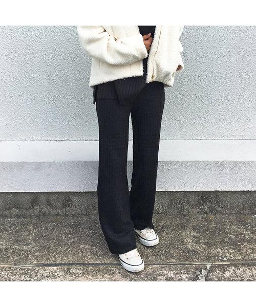 杢リブ編パンツ【セットアップ可】