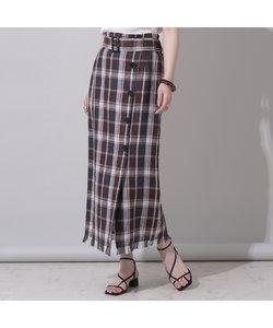 リネンチェックベルト付フリンジタイトスカート
