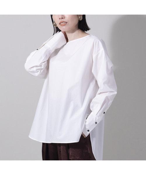 バックボタンノーカラーシャツ