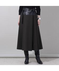 レザー切替フレアスカート