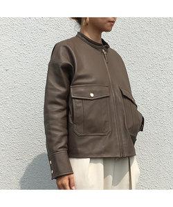 ラムレザースタンドカラージャケット