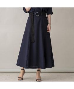 リネンライクベルト付きフレアスカート【セットアップ可】