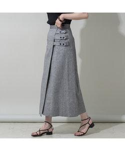 リネンストライプラップスカート