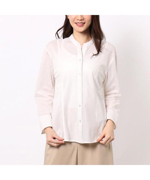 エジプト綿のスタンドカラーシャドーストライプシャツ