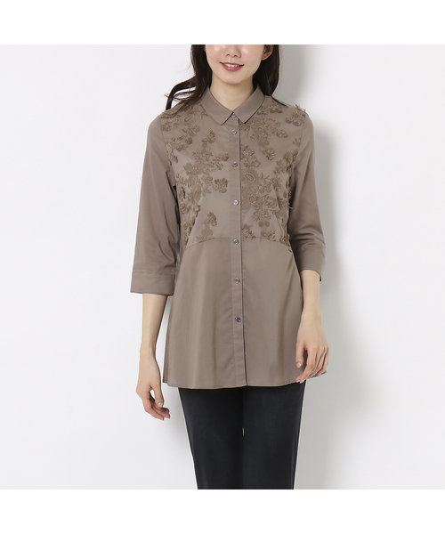 3D草花刺繍のAラインチュニックシャツ