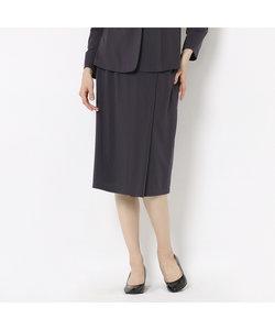 [セットアップ対応] 巻きスカート風エンボスストライプスカート