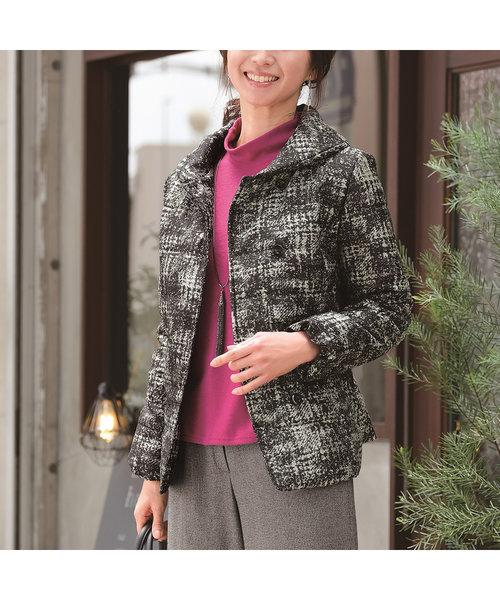 ジャガード素材の中綿ジャケット