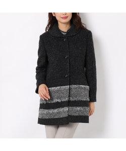 裾フリンジボーダーのイタリア素材ウール混コート