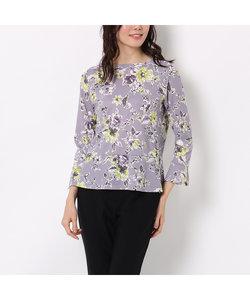 裾ペプラムの花柄カットソー