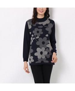 フラワージャガードのハイネックセーター