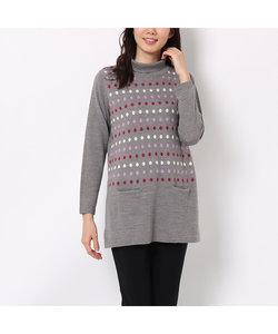 マルチカラードットのミニポケット付きセーター