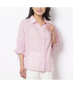 綿ストライプドルマンスリーブシャツ