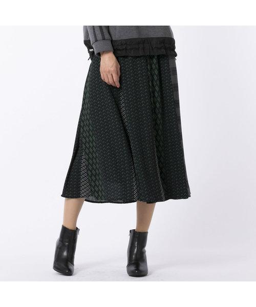 パッチワーク風マルチプリントスカート
