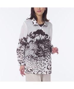 アニマルプリント ステンカラーシャツ【大きいサイズ】