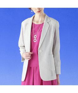 米沢織 変わり織りカラミ テーラードジャケット 【大きいサイズ】