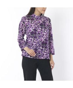 綿リップル加工 フラワープリントTシャツ【大きいサイズ】
