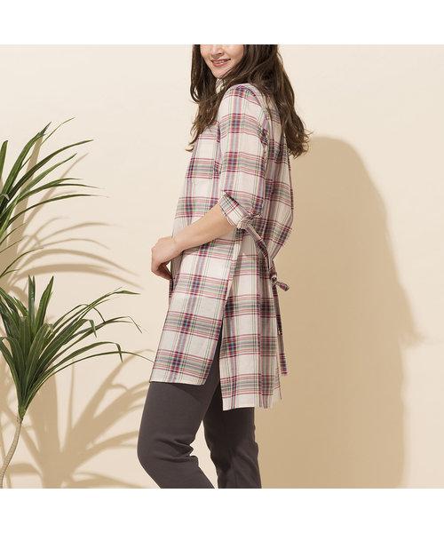 綿麻タータンチェックロングシャツ