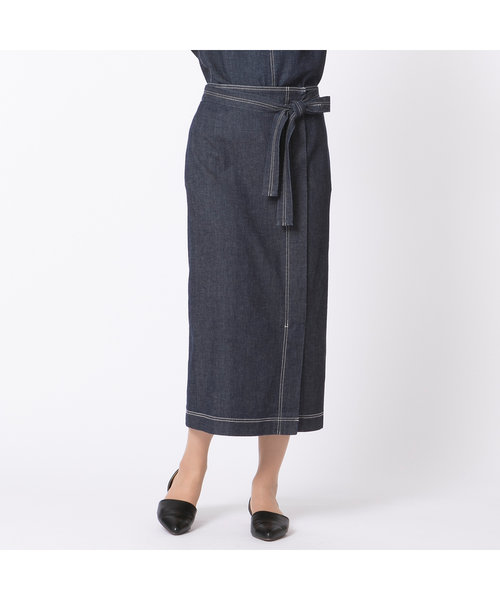 ラップ風デニムタイトスカート