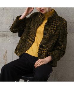 イタリア製素材 パッチワークフリンジジャケット