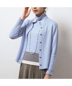 【Selectio】カシミヤケーブル編みカーディガン 【アンサンブル可】