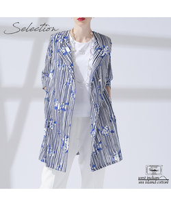 【Selection】海島綿 オープンカラーロングジャケット