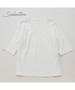 【Selection】花刺繍加工 綿100%Tシャツ
