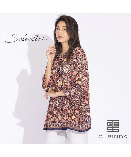 【Selection】BINDA イタリア製素材 フラワー更紗ブラウス