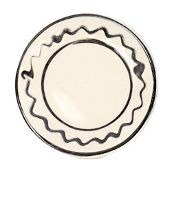 丹窓窯 イッチン皿/ナナメスリップ皿 3.5寸 白